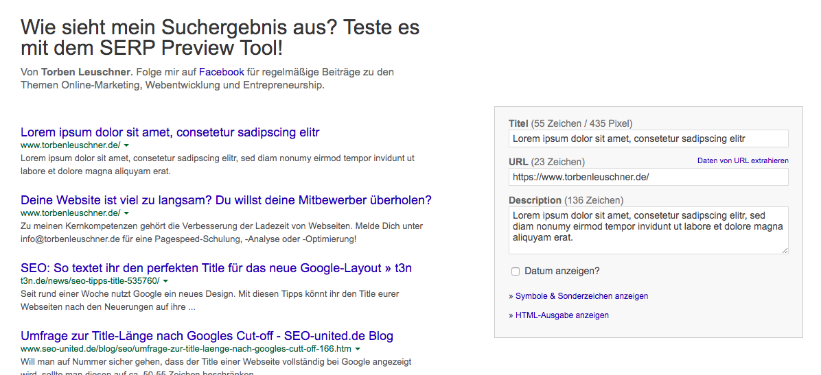SEO Tool Google SERP Preview