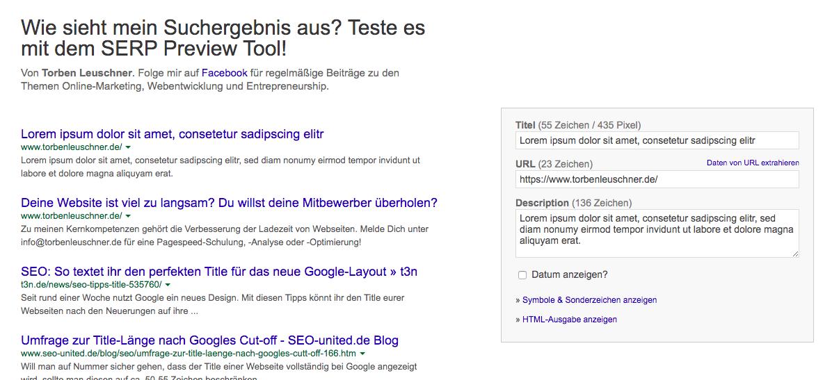 SEO Tool Google SERP Preview