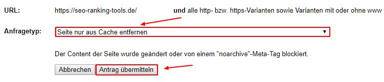 Google Cache Löschungsantrag übermitteln