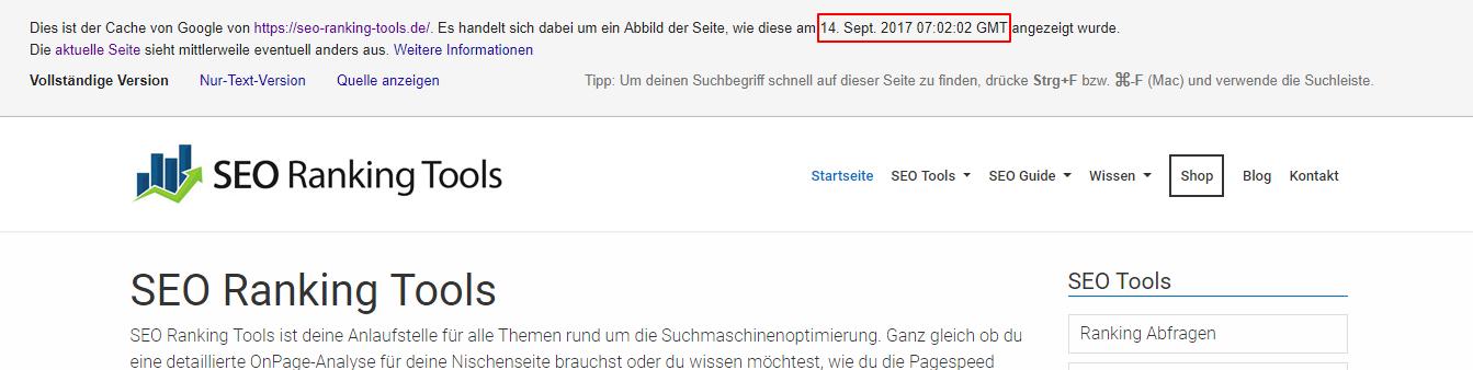 Google Cache Webseiten Version wird angezeigt